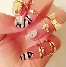 New HOT 7PCS/Set Gold Skull Stack Plain Cute Above Knuckle Ring Band Tip Rings