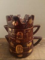 Vintage 1950s-60s Stacking Sugar and Creamer Three Piece Ceramic Castle Set