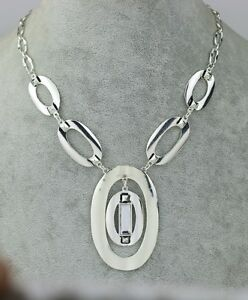 chico's signed jewelry polished silver tone necklace chain huge pendant