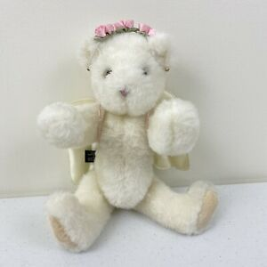 Authentic Vermont Teddy Bear Angel White 1997 Flower Halo and Wings