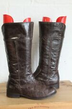 BROWN CRINKLE EFFECT LEATHER RIDING STYLE BOOTS SIZE 4 / 37 BY CRAVO CANELA USED