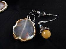 Real Golden Jade Vibrant Moonstone Clear Quartz Crystal Agate Pendulum Silver