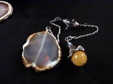 Real Golden Jade Vibrant Moonstone Clear Quartz Crystal Agate Pendulum Silver