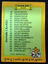 Cricket SCANLENS, 1986-87 CLASHES FOR THE ASHES AUSTRALIA CHECK LIST CARD # 66