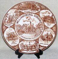 Vintage Williamsburg Virginia Governors Palace Souvenir Plate Brown Transferware