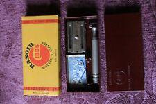 rare vintage GIBBS, Belgische safety razer in bakelitedoos en verpakkingsdoos