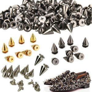 50/100pcs 10mm Spots Cone Screw Metal Studs Leather Craft Rivet Pyramid Spikes