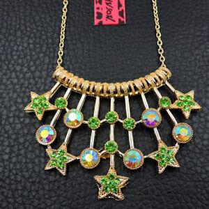 New Enamel Rhinestone Green Women's Star Pendant Betsey Johnson Chain Necklace
