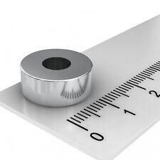 50x NEODYM POWER RINGMAGNET 15x6mm mit 6mm BOHRUNG VERNICKELT N45  MAGNETRINGE