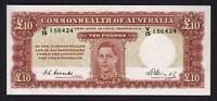 Australia R-60F. (1949) 10 Pounds - Coombs/Watt..  1st Prefix V/15..  UNC