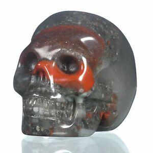 "1.93""Natural New Blood Jasper Crystal Skull Metaphysic Healing Power #33L97"