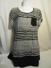 ANNE KLEIN black white striped t shirt top Women M