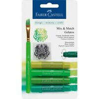 #121804 Faber Castell 6 Pc Green Gelatos Watersoluble Crayons Design Craft Blend