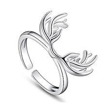 Plata esterlina 925 anillo de cuernos de Ciervo Ciervo Nuevo Tamaño S M L