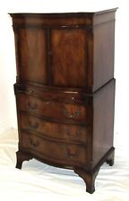 Antique Walnut Serpentine Front Cupboard on Chest of Drawer with Brush Slide