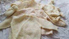 3 vintage 1960s hand knit baby sweaters yellow bonnet gloves newborn - 6 mos?