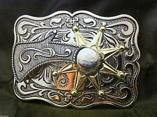 "Western Cowboy ""Spinning Spur"" Metal Belt Buckle (Rectangular)"