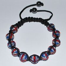 Swarovski 10mm Pave Ball Beads UK Flag Macrame Shamballa Bracelet  SH102