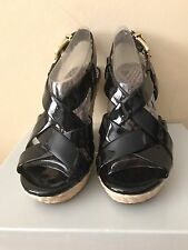 Jessica Simpson Catalina Black Patent High Heel Platform Sandals 7.5M