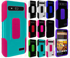 For Boost Mobile ZTE Speed Robust Slim HYBRID Rubber Case Cover + Screen Guard