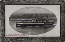 CRP Steamship SS Princess Charlotte Leaving Vancouver BC Postcard c1910 rpx