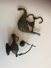 More details for 2x beautiful antique oil lamp from orient 14x7cm   and 9x10cm , each 200 grams