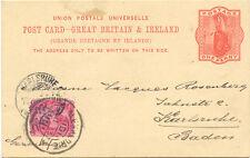 2135 BRITISH LEVANT 1893 GB QV 1 D postal stationery postcard JAFFA via EGYPT R!