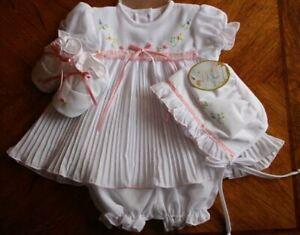 Will'beth Preemie Newborn Baby Girl Fancy Pleated Dress Bonnet Booties NWT Dolls