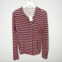 Lucky Brand Striped Maroon Jacket NEW $99 Women's Size Small
