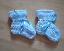 Handmade Hand Crocheted Baby Unisex Bootees-straight top Acrylic various colours