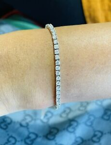 Handcrafted  18k White Gold  3.16 Ct Top Quality Round Diamond Tennis Bracelet