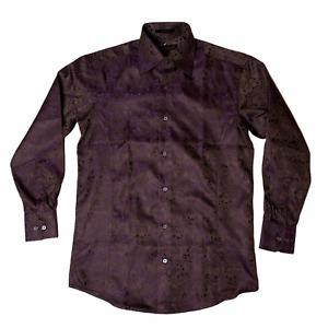 Leonardi Mens Dress Shirt Large Purple Baroque Shiny Sheen