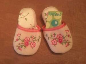 NWT Gymboree Cherry Blossom Baby Girl Pink Floral Slippers Sz 7/8 Vintage