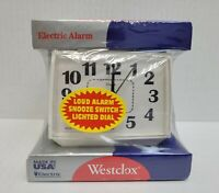 Vintage WESTCLOX Bold II Electric Alarm Clock LIGHTED Dial MODEL 22192 White
