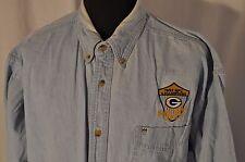 VINTAGE LEE Denim 1997 Super Bowl CAMPIONATO NFC Logo Camicia Taglia XL Work Wear