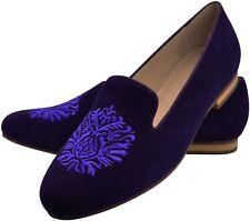 Leder Slipper Loafer Lila Purple Shoes Wappen Stick Größe 40  Bestickt