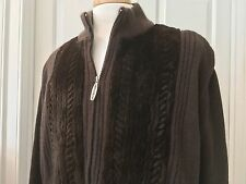 Stefano Ricci | Brown Cashmere & Mink Zippered Jacket w/ Leather Trim - 58 XXXXL