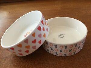 "Set Of 2 Fringe Studio Dog Cat Pet Ceramic Bowl EAT PLAY LOVE 5""x2""! NWOT!"