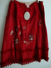 April Cornell Red Skirt New L Large Vintage Romantic Floral Patchwork A-line NWT