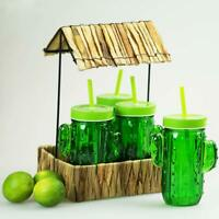 Cactus Glasses with Lids, Straws & Hawaiian Chic Tray Set of 4 Lemonade Glasses
