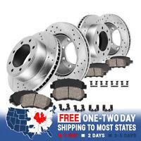 Front & Rear Drill Slot Brake Rotors & Ceramic Pads For Express Savana SRW 3500