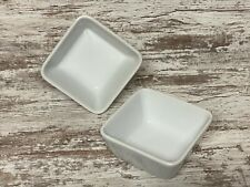 2 Pampered Chef Simple Additions White Bowls 4 1/2� Square Retired