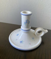 Vintage Crowning Touch White Blue Ceramic Floral Chamber Stick Candle Holder
