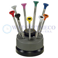 Bergeon 30081-S09 Set of 9 Screwdrivers with Rotating Stand Swiss