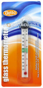BETTA GLASS THERMOMETER SIMPLE ACCURATE CELCIUS FARENHEIT AQUARIUM FISH TANK