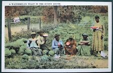 A Watermelon Feast in the Sunny South - antique post card