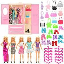 Wardrobe, 5 Clothes Dresses,10 PCS Shoes, Hangers & Bags-Dolls Clothes Barbie