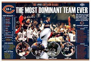 "1985 SUPER BOWL CHAMPIONS CHICAGO BEARS 19""x13"" COMMEMORATIVE POSTER"