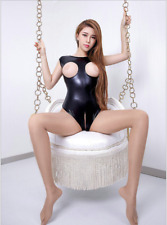 Women Sexy PVC Faux Leather Wet Look Bodysuit Teddy Lingerie Open Bra Crotchless