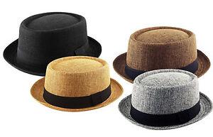 Textured PORK PIE HEISENBERG - BREAKING BAD Porkpie Hat Cap - Black Grey Brown